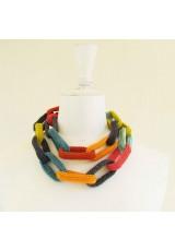 Sautoir chaîne, anneaux crochetés, gris, turquoise, anis et orange
