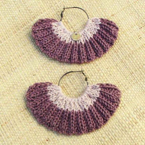 Boucles d'oreilles éventail rose ancien et bruyère