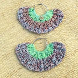 Boucles d'oreilles éventail vert clair et chiné