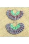 Boucles d'oreilles éventail vert clair et chiné rose et bleu clair