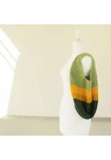 Sac seau au crochet, en coton vert amande jaune safran et vert olive