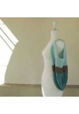 Sac seau au crochet, en coton turquoise, taupe, lagon