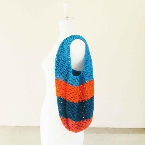 Sac seau au crochet, en coton turqoise et orange