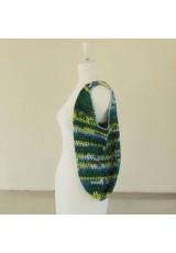Sac seau en coton, en dégradé de bleus, verts et jaune