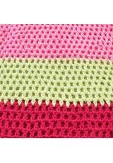 Sac seau au crochet, en coton rose malabar, vanille et cerise