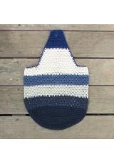 Sac seau au crochet, en coton bleu marine à paillettes, bleu outremer, bleu grisé et naturels
