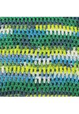 Sac seau au crochet, en coton, en dégradé de bleus, verts et jaune