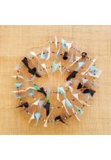 Guirlande tissu de spinnaker et perles multicolores n°34 (jour de pluie)