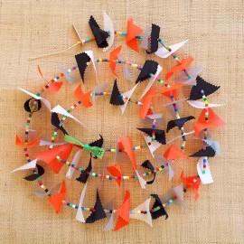 Guirlande tissu de spinnaker et perles multicolores n°52