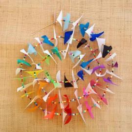 Guirlande tissu de spinnaker et perles multicolores n°54