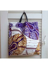 Tote bag wax violet, ocre, bordeau et blanc