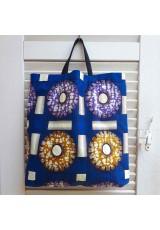 Tote bag wax bleu, violet et ocre