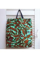 Tote bag wax turquoise, orange et brun