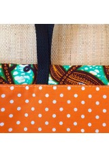 Tote bag turquoise, orange et brun