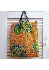 Tote bag orange, bleu et anis