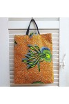 Tote bag wax orange, bleu et anis