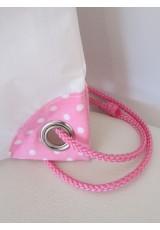 Petit sac à dos toile spinnaker et coton rose pois blancs