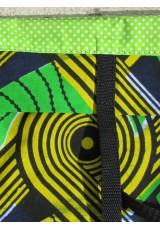 Petit cabas Wax vert jaune indigo