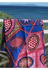 Paréo Wax bleu rose brun