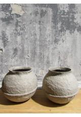 Vase  rond pulpe de papier gris