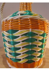 Bouteille Scoubidou vert, orange et blanc