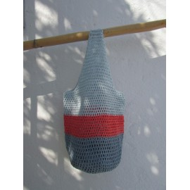 Sac seau au crochet bleu ardoise corail ciel