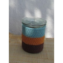 Photophore au crochet rayé turquoise orange chocolat