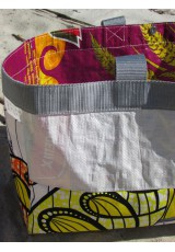 Cabas sac de riz et wax jaune et orange