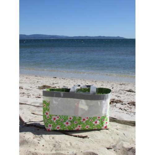 Cabas en sac de riz et coton fleuri vert et blanc