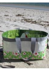 Cabas sac de riz et coton fleuri vert et blanc