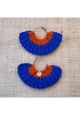 Boucles d'oreilles éventail caramel bleu saphir