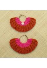 Boucles d'oreilles éventail ocre rouge et rose tyrien