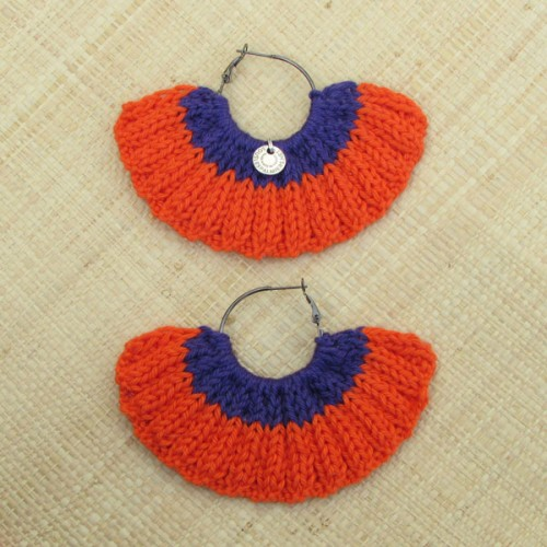 Boucles d'oreilles éventail orange vif et violet
