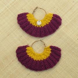Boucles d'oreilles éventail aubergine et jaune d'or