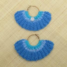Boucles d'oreilles éventail bleu de France et mers du sud
