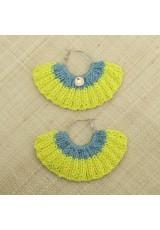 Boucles d'oreilles éventail jaune citron et céladon