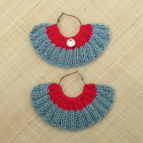 Boucles d'oreilles éventail céladon et rouge vif