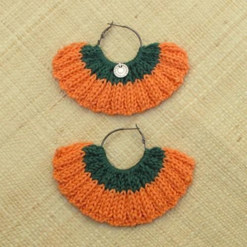 Boucles d'oreilles éventail orange clémentine et vert bouteille