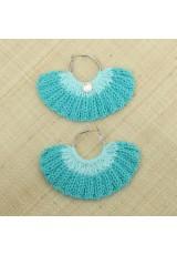Boucles d'oreilles éventail bleu des mers du sud et aigue-marine