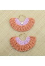 Boucles d'oreilles éventail abricot et rose lilas