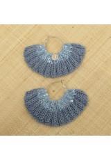 Boucles d'oreilles éventail gris plomb et bleu glacier à paillettes