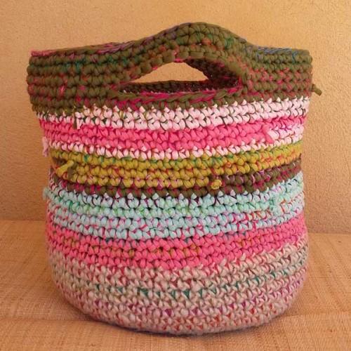 Cabas crocheté multicolore, Zpagetti et jute, rose, bleu ciel et vert olive
