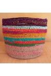 Cabas crocheté multicolore, Zpagetti et jute, aubergine, turquoise, orange, curry et vert