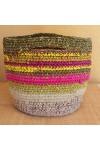 Cabas crocheté multicolore, Zpagetti et jute, rose tyrien, jaune et vert olive