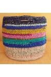 Cabas crocheté multicolore, Zpagetti et jute, gris foncé, bleu, curry, rose, turquoise et olive