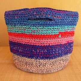 Cabas crochet multicolore Zpagetti et jute, bleu, turquoise rose et rouge