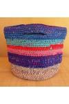 Cabas crocheté multicolore, Zpagetti et jute, bleu, turquoise, corail et orange