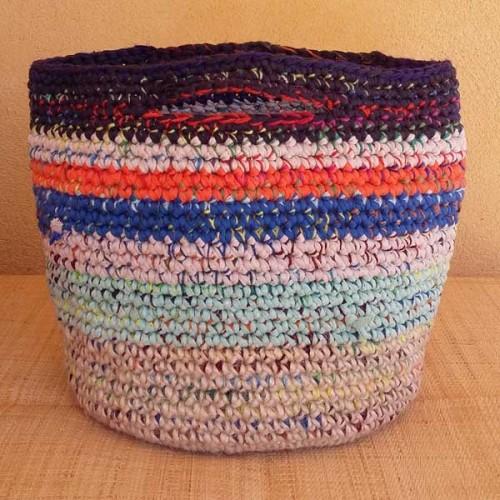 Cabas crocheté multicolore, Zpagetti et jute, gris foncé, orange, bleu, naturel et turquoise