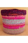 Cabas crocheté multicolore, Zpagetti et jute, aubergine, rose et bleu ciel