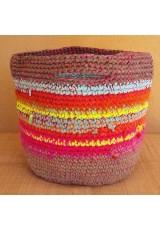 Cabas crochet multicolore Zpagetti et jute, brun, ciel, orange, jaune et rose